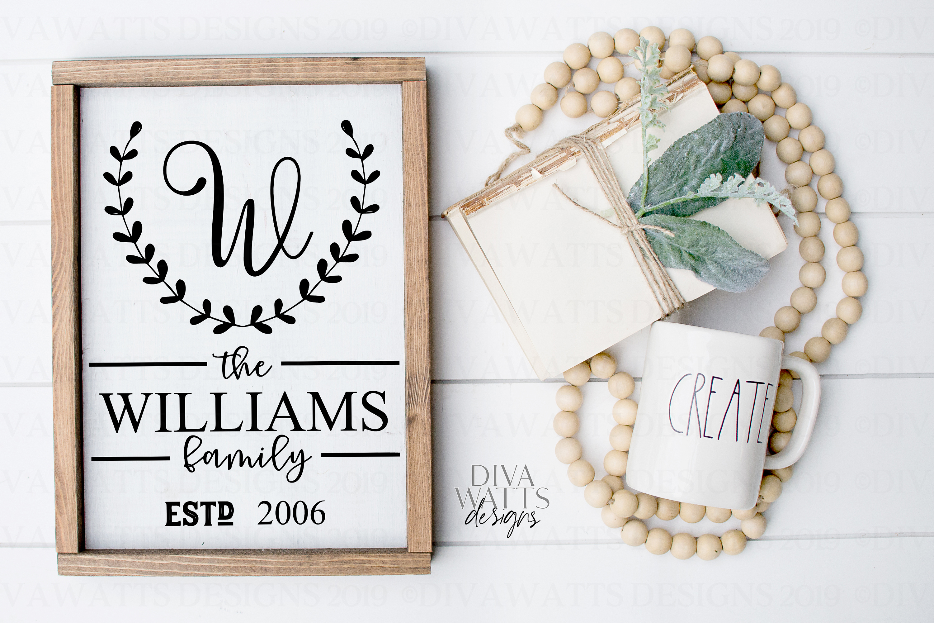 Monogram Laurel Family Sign with Year - Customize SVG example image 2