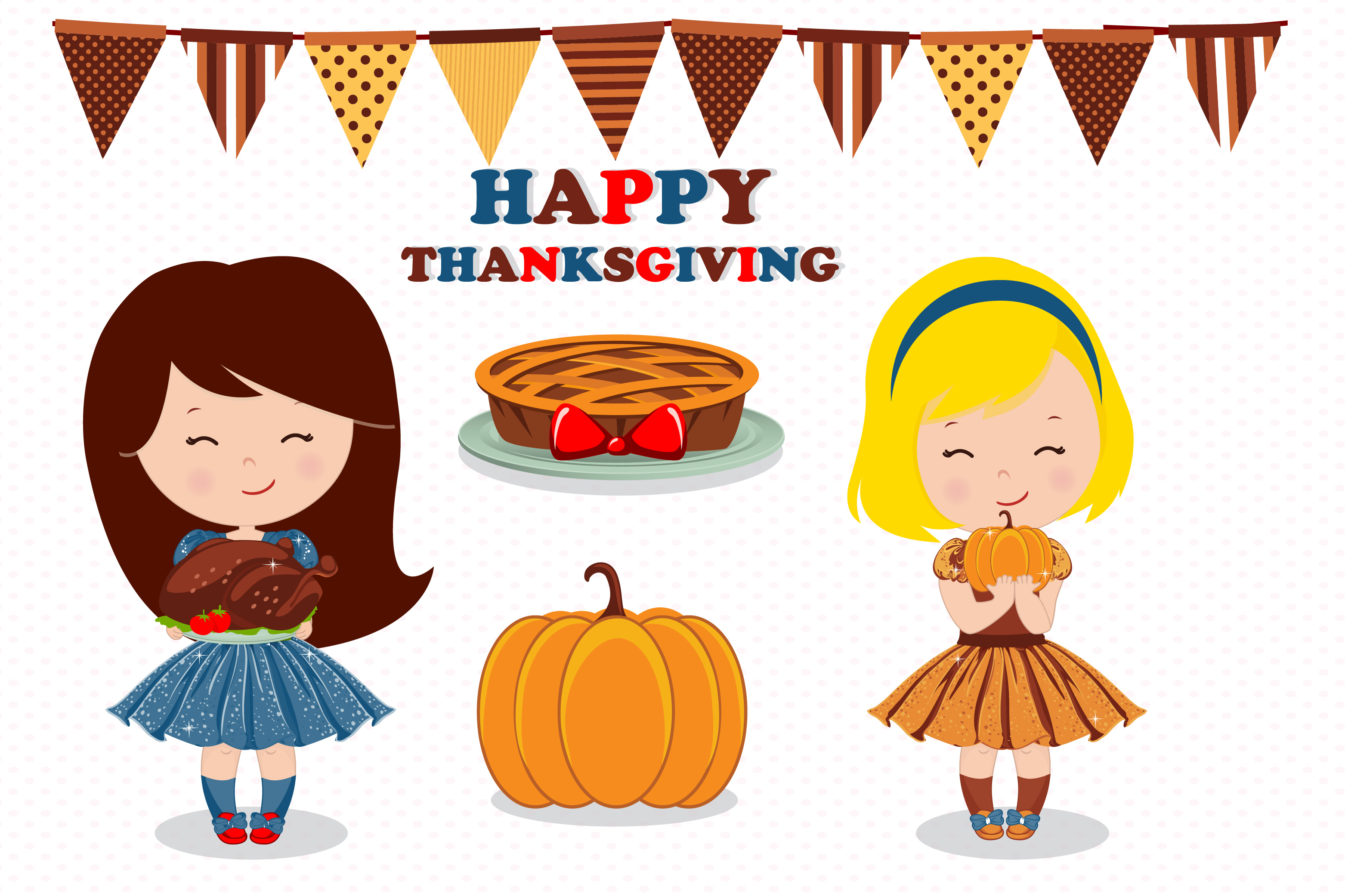 Thanksgiving girl illustration, Thanksgiving graphics example image 4