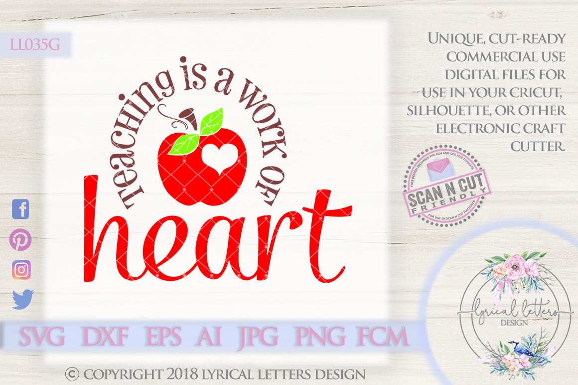 Teaching Is a Work of Heart SVG Cut File LL035G example image 1