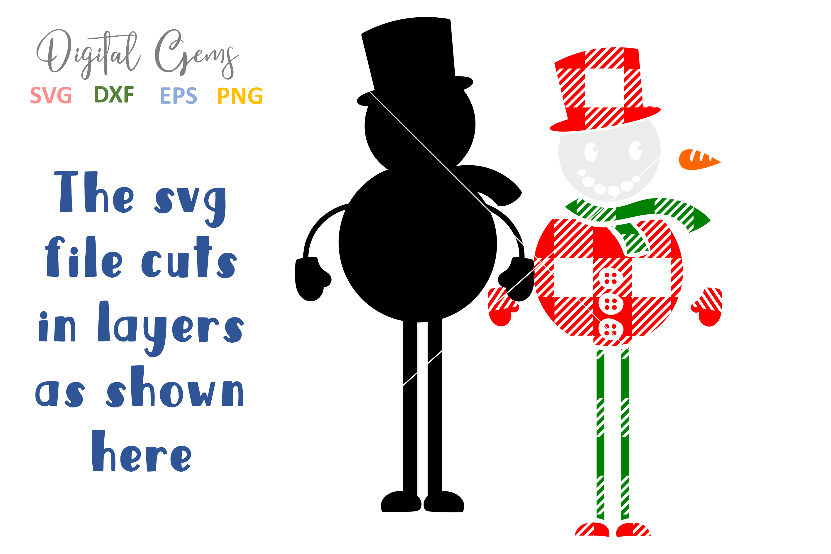Plaid Snowman SVG / PNG / EPS / DXF files example image 6