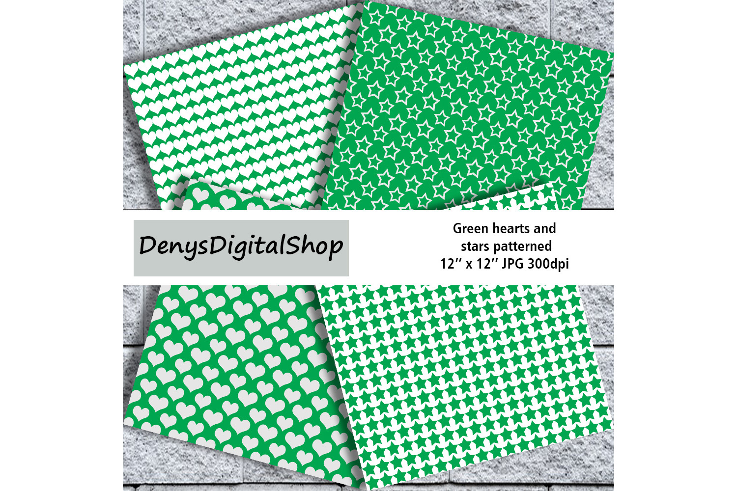 Green heart, stars patterned, green, white, stars, OFF, SALE example image 3