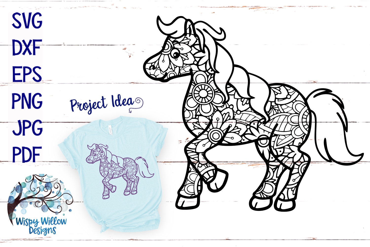 Horse Zentangle SVG example image 1