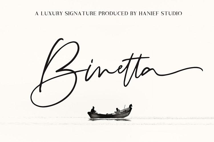 Binetta Signature//Modern Script example image 1