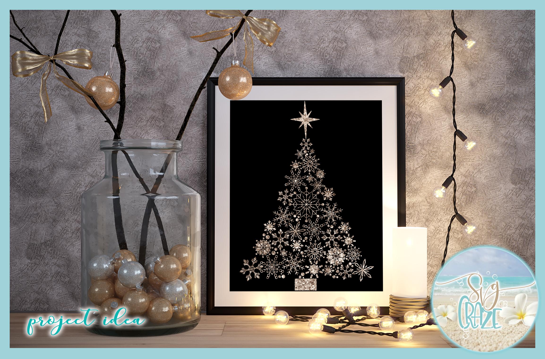 Snowflake Christmas Tree with Star SVG example image 3