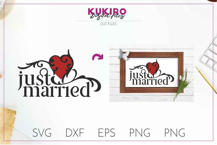 Just married- Wedding cut file SVG JPG PNG DXF EPS example image 1