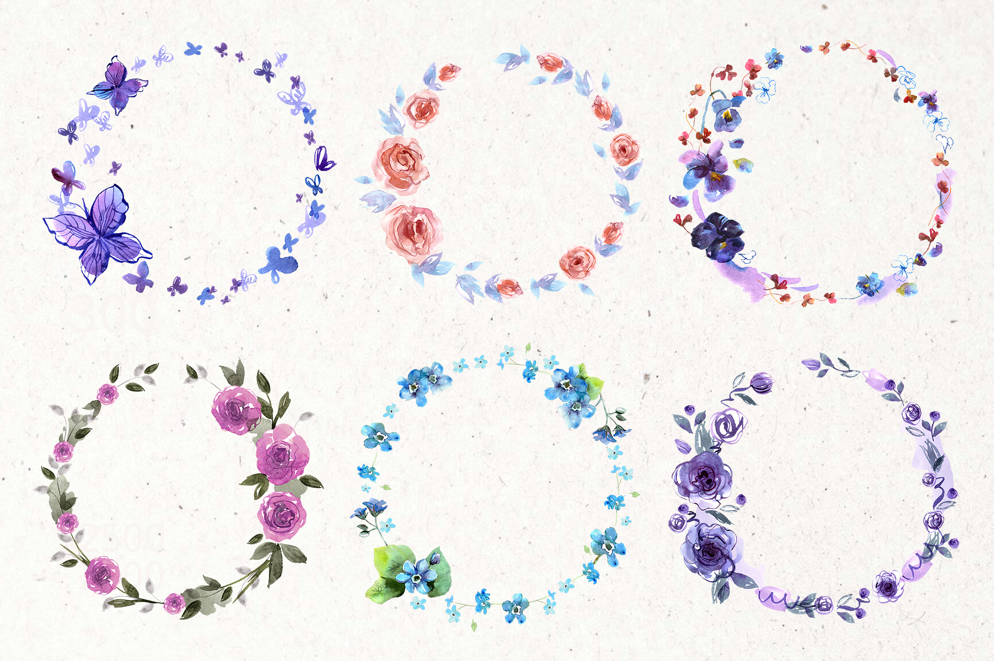 30 Watercolor Floral Wreaths example image 2