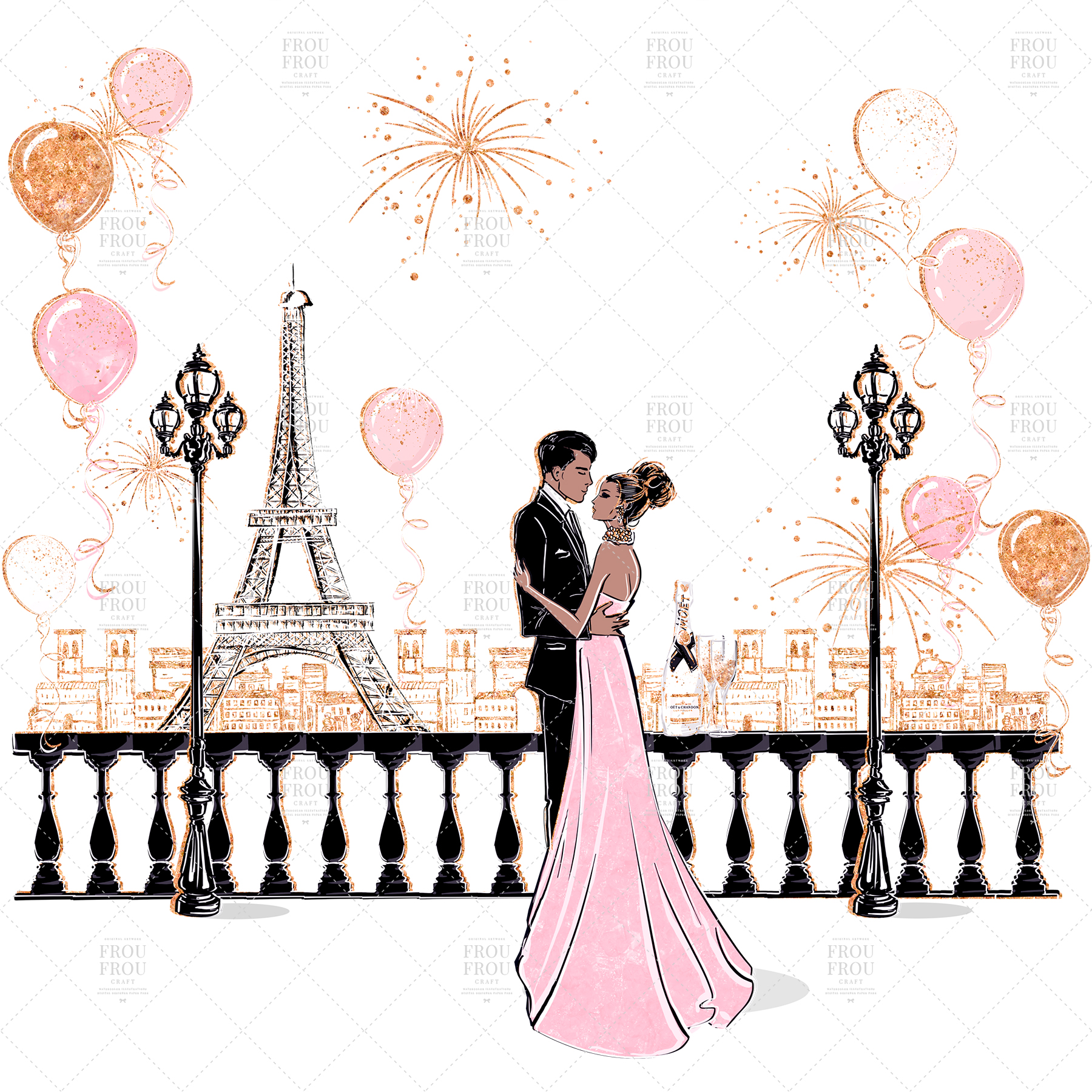Valentine Anniversary Paris Romantic Love Clip Art example image 8