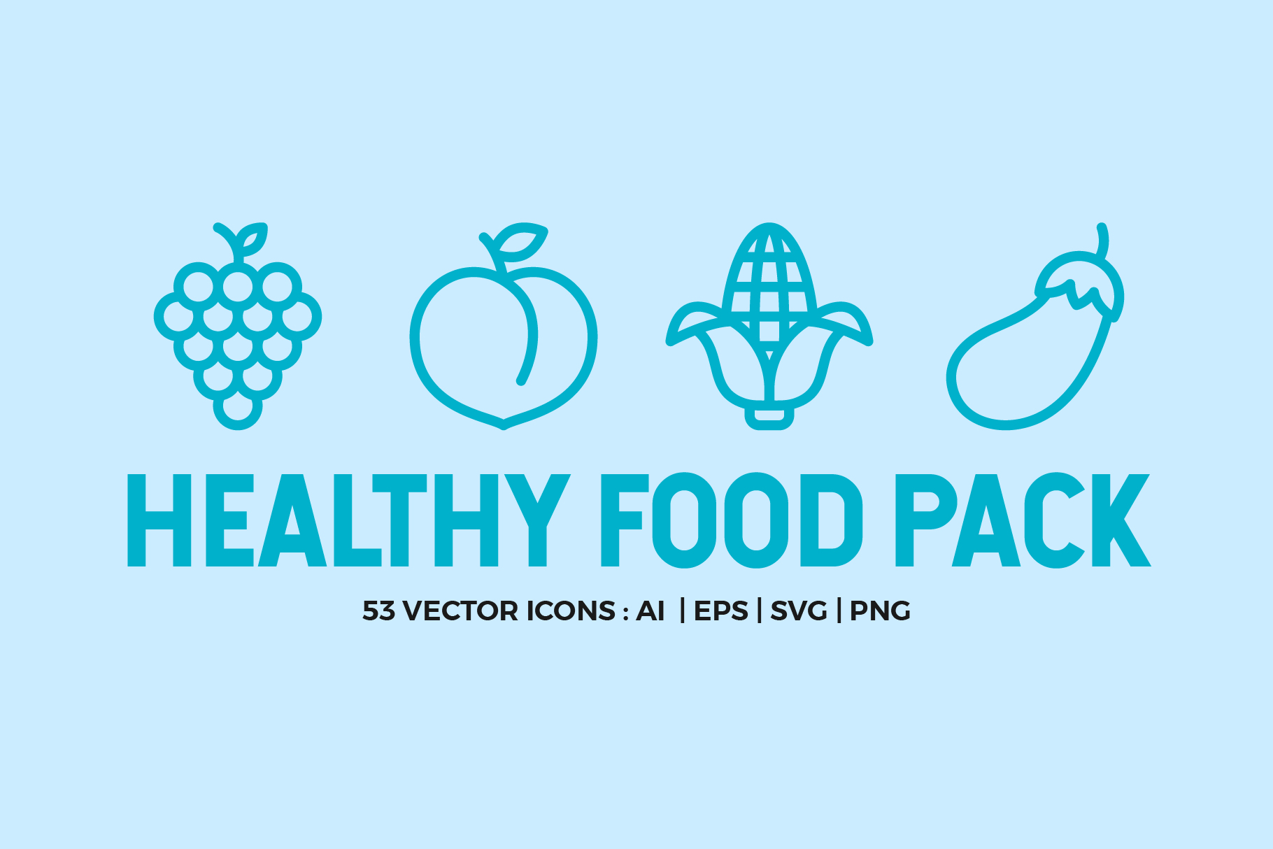 Healthy Food Line Icons example image 1