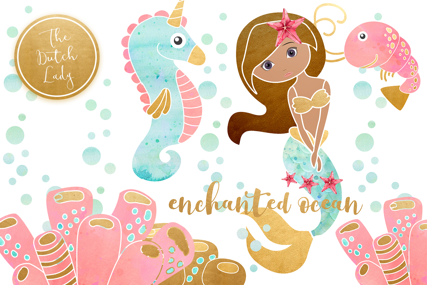 Enchanted Mermaid Ocean Clipart Set example image 6
