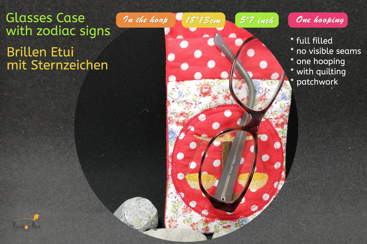 ITH - Glasses Case with Zodiac sign Libra - Embroidery file example image 5