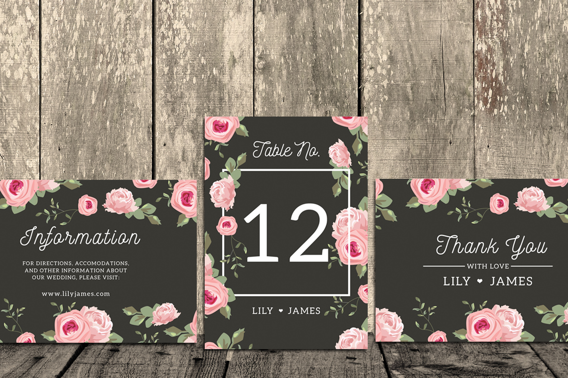 Floral Wedding Invitation Suite example image 4