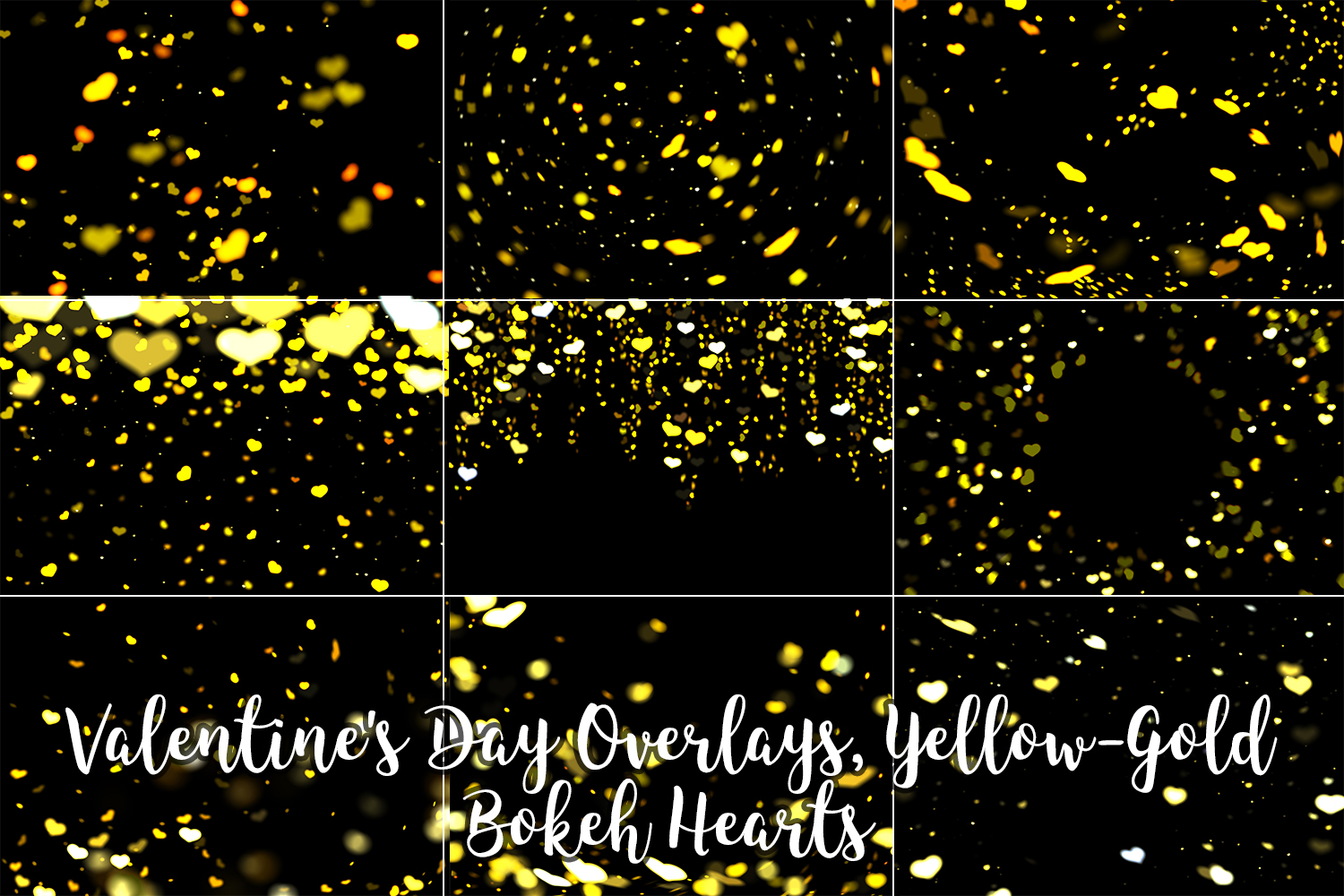 Valentine's Day Overlays, Yellow Gold Hearts Bokeh Overlays example image 3