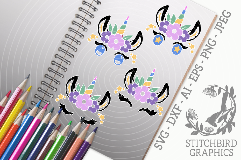 Unicorn Eyelashes 3 Bundle SVG, Silhouette Studio, Cricut example image 1