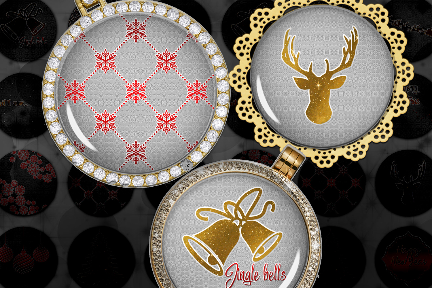 Golden Christmas,Images Digital,Christmas Circles,Printable example image 1
