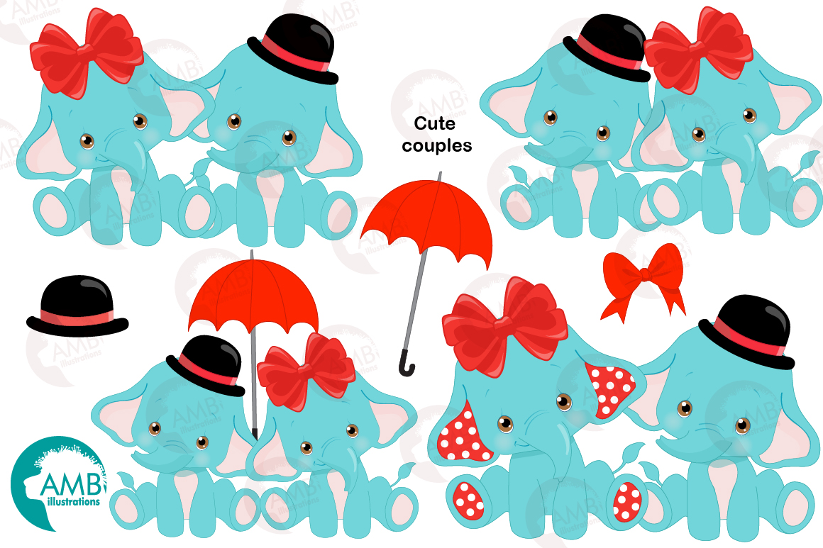 BABY ELEPHANT BUNDLE! 53 cliparts, graphics and illustrations and Patterns AMB-2273 example image 6