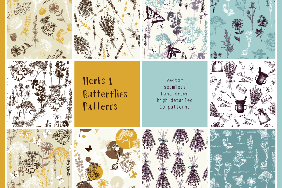 Vintage Herbs Patterns example image 1