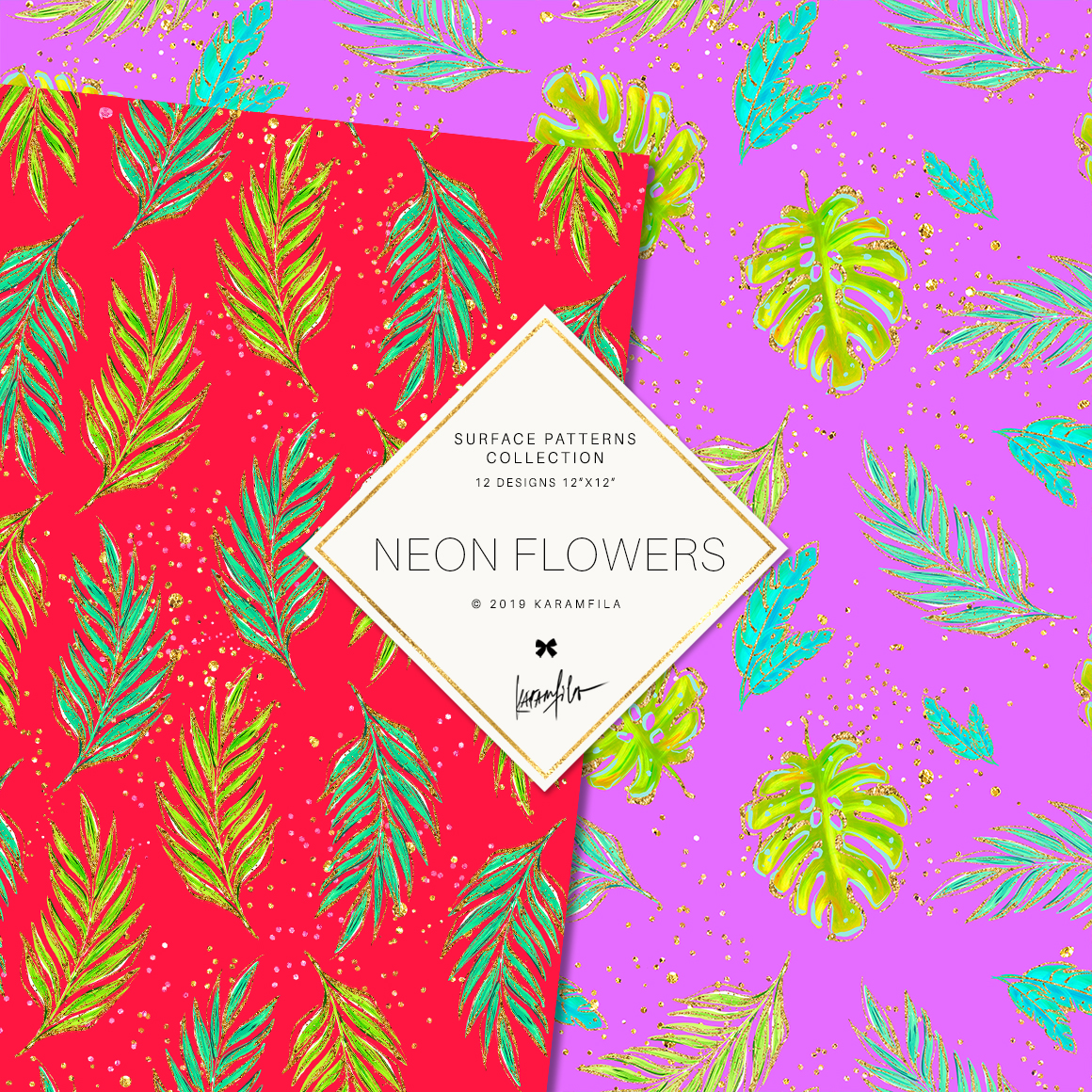 Neon Tropical Digital Paper, Tropical Floral Patterns example image 7