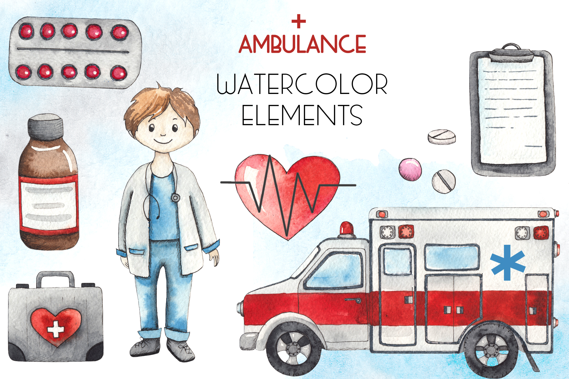 Ambulance. Watercolor collection example image 2