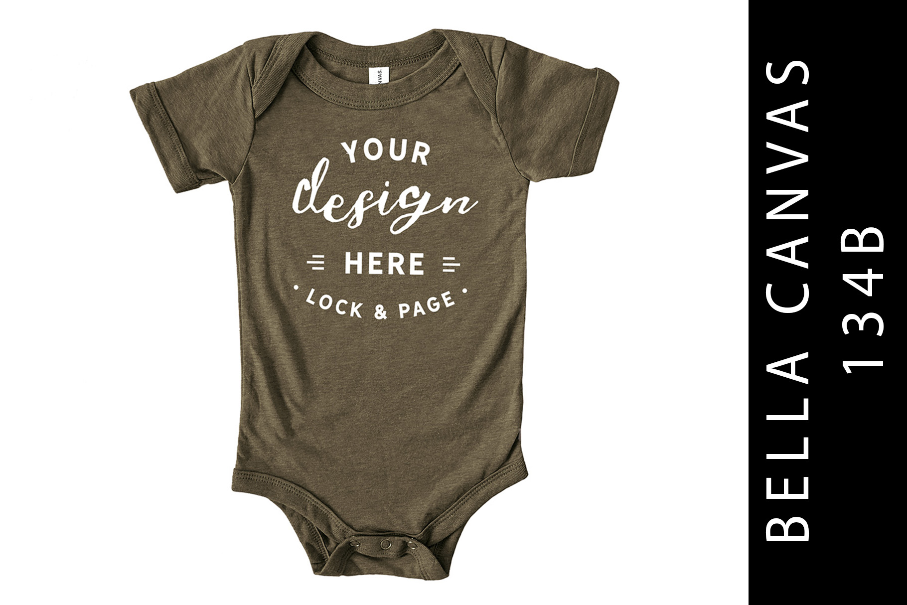 Baby Bella Canvas 134B Romper Mockup Suit Olive example image 1