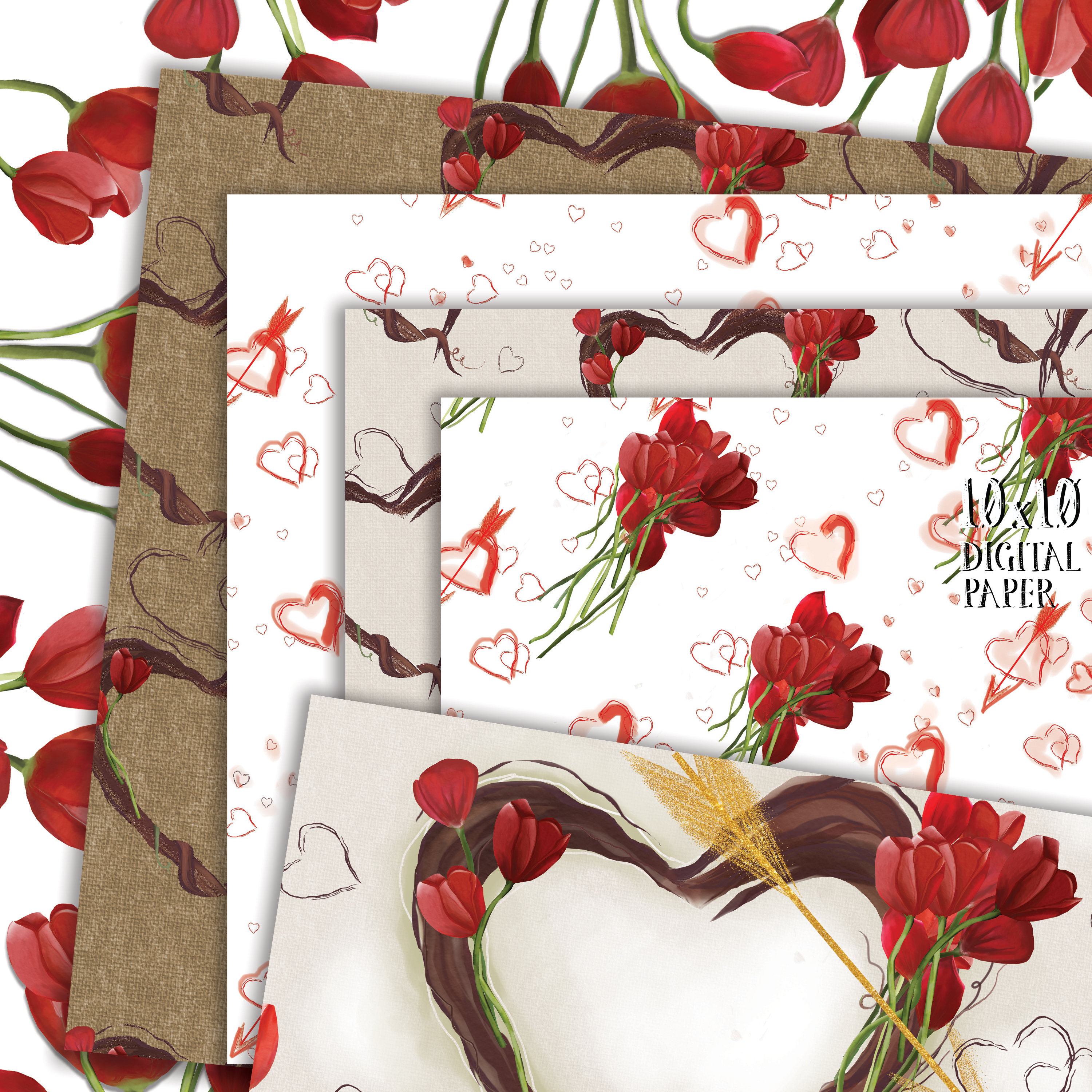Hand Painted Hearts & Tulips Bundle example image 3