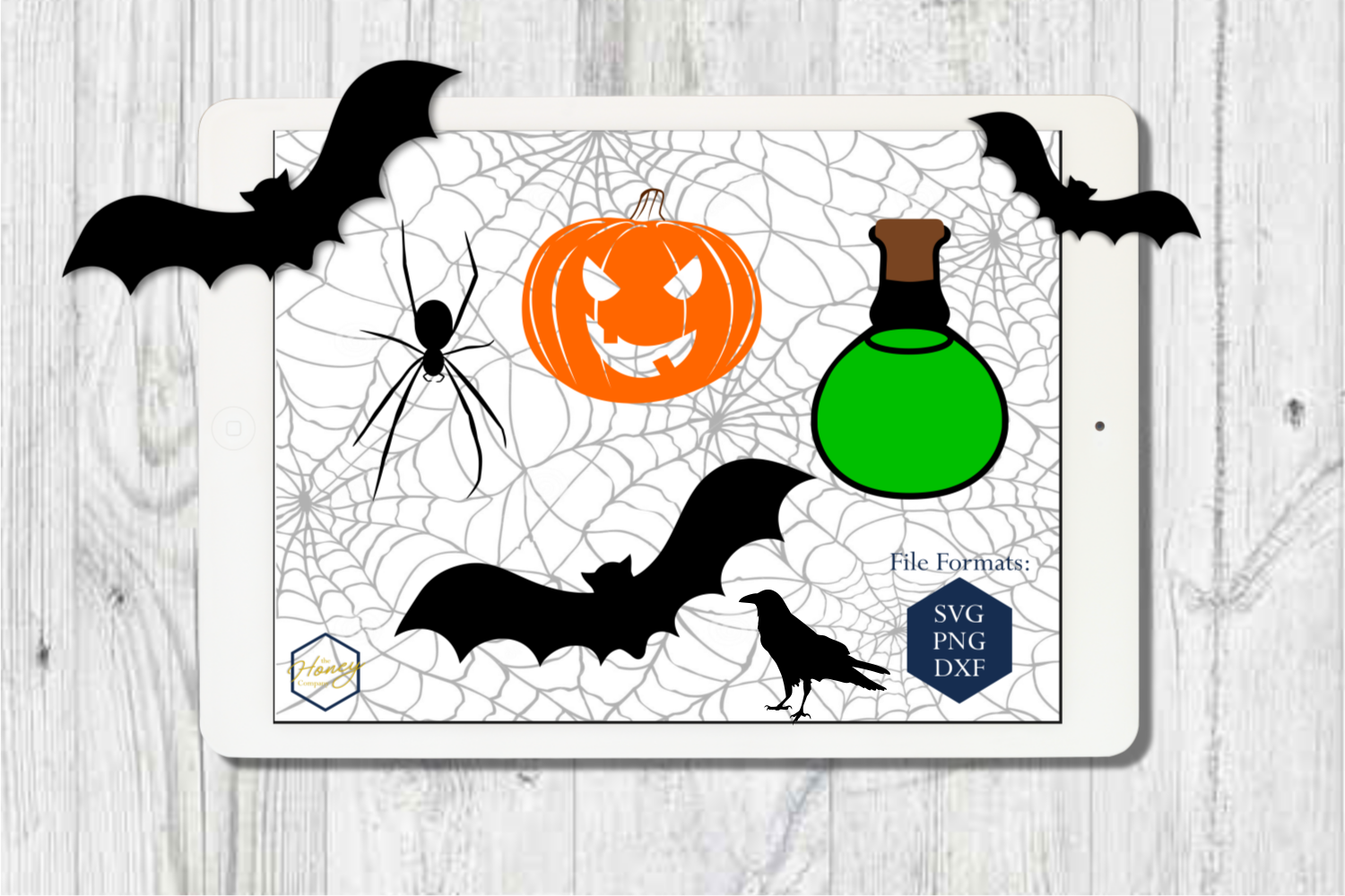 Halloween Set SVG PNG DXF Spider Bats Skull Potion Witch example image 3