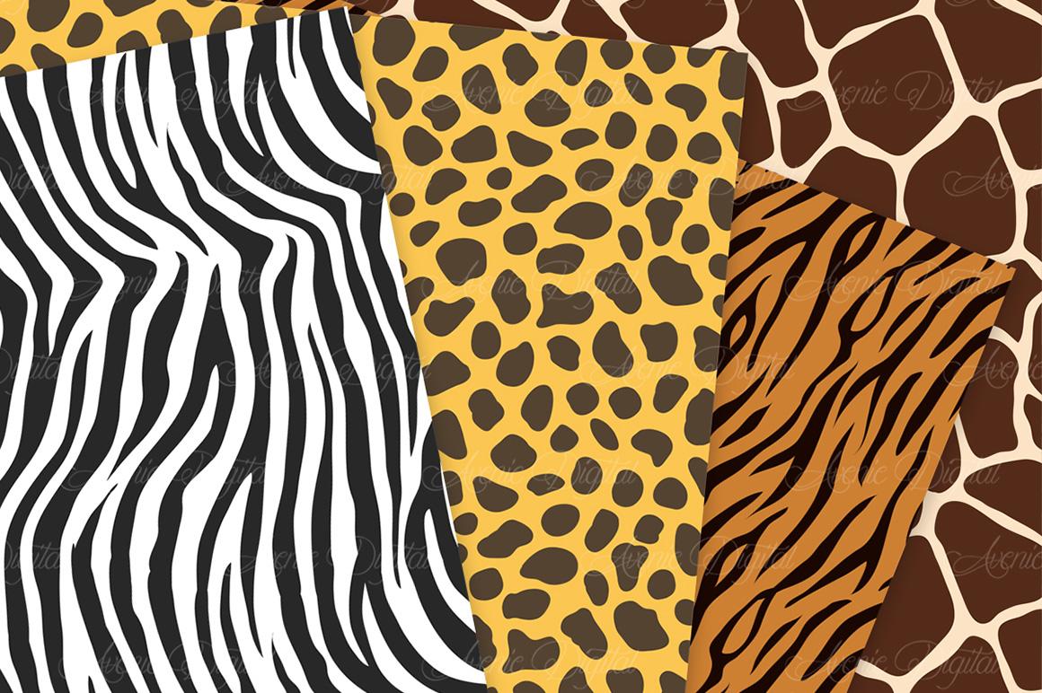 Animal Print Vector Patterns -  Safari Seamless Digital Papers example image 3