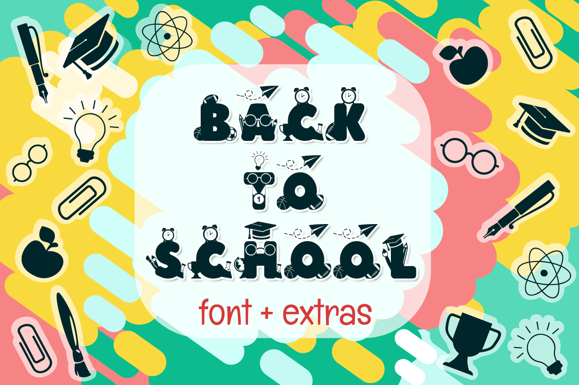 Back to School | School Font with Extras example image 1