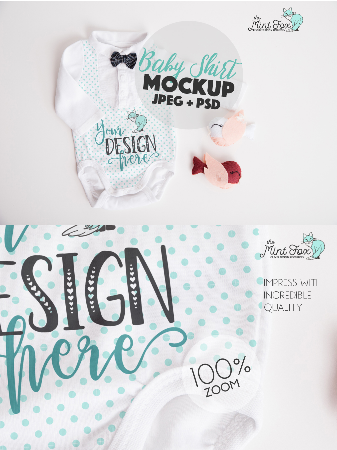 Baby Boy Mockup | New Born Bodysuit Mock Up example image 3