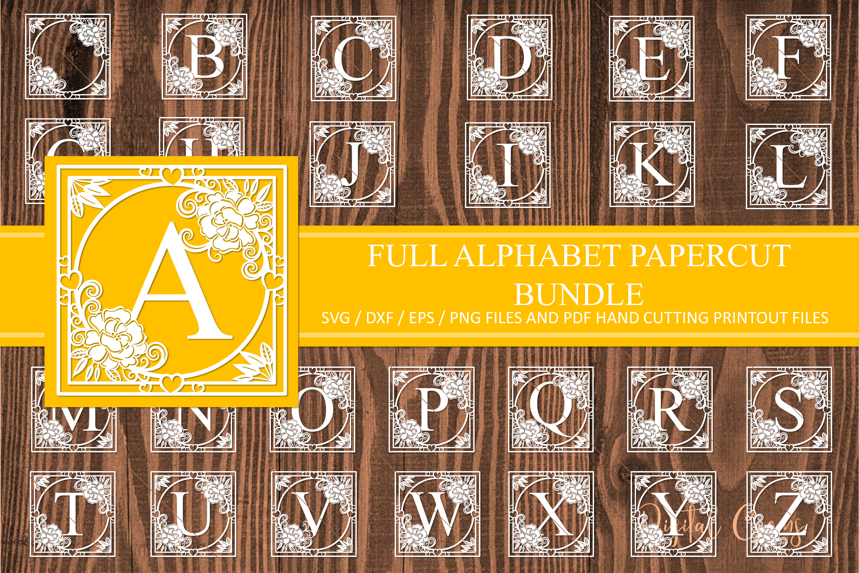 Full alphabet paper cut Bundle. SVG / DXF / EPS files example image 1