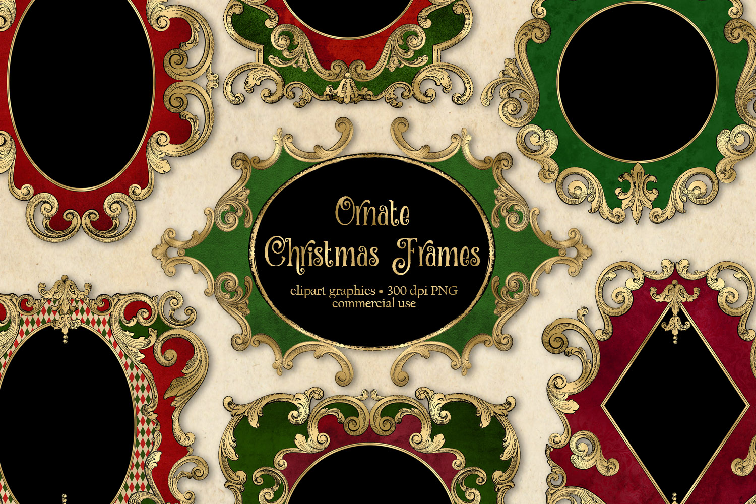 Ornate Christmas Frames Clipart example image 1