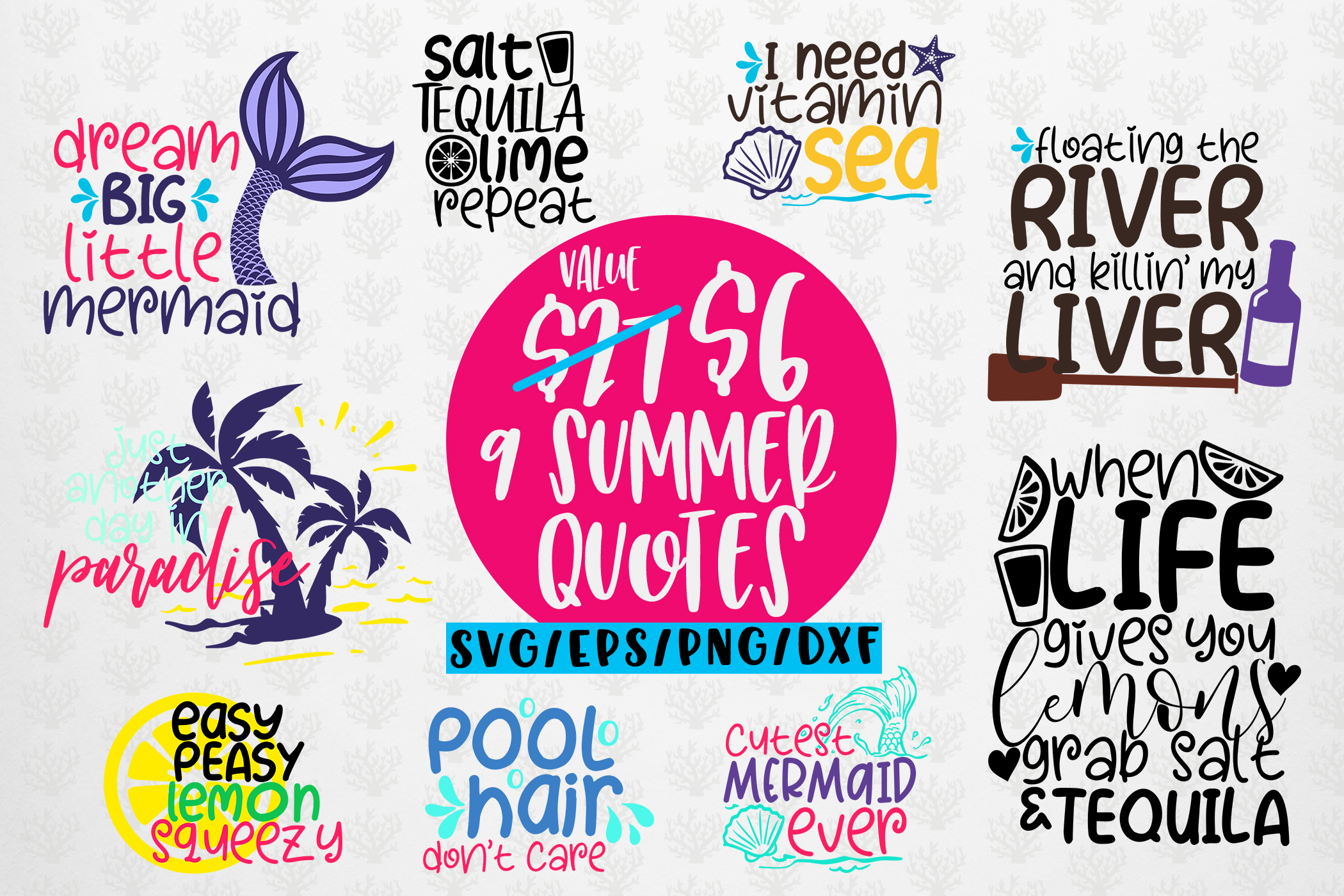 Summer Quote Bundles - 9 Svg EPS DXF PNG Cut File example image 1