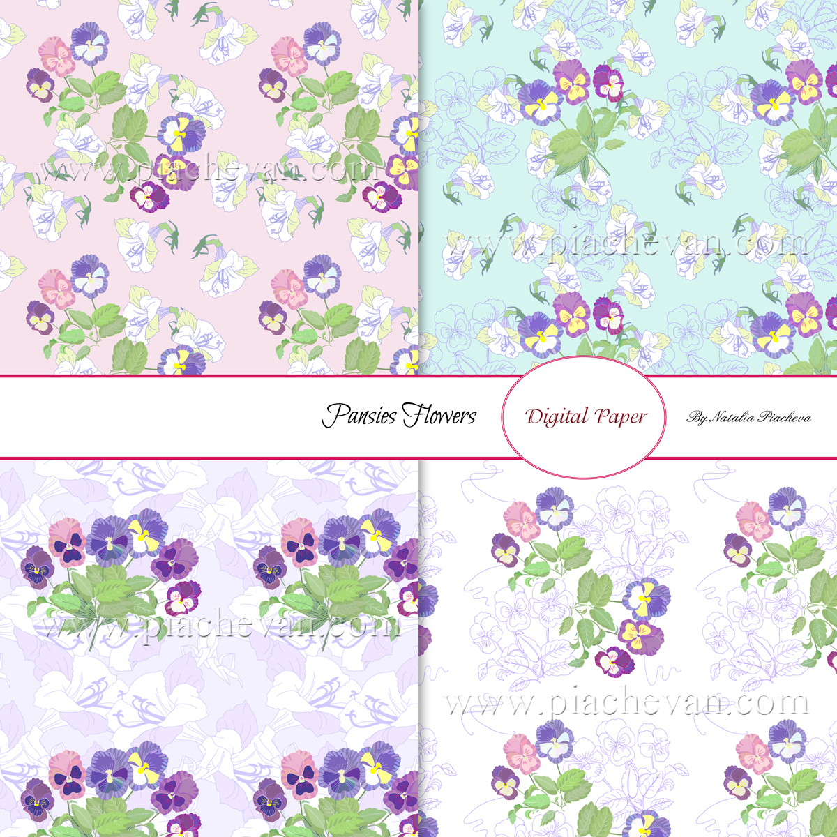 Digital paper with Pansies Flowers example image 2