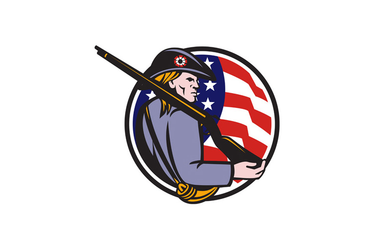 American Patriot Minuteman With Rifle And Flag example image 1