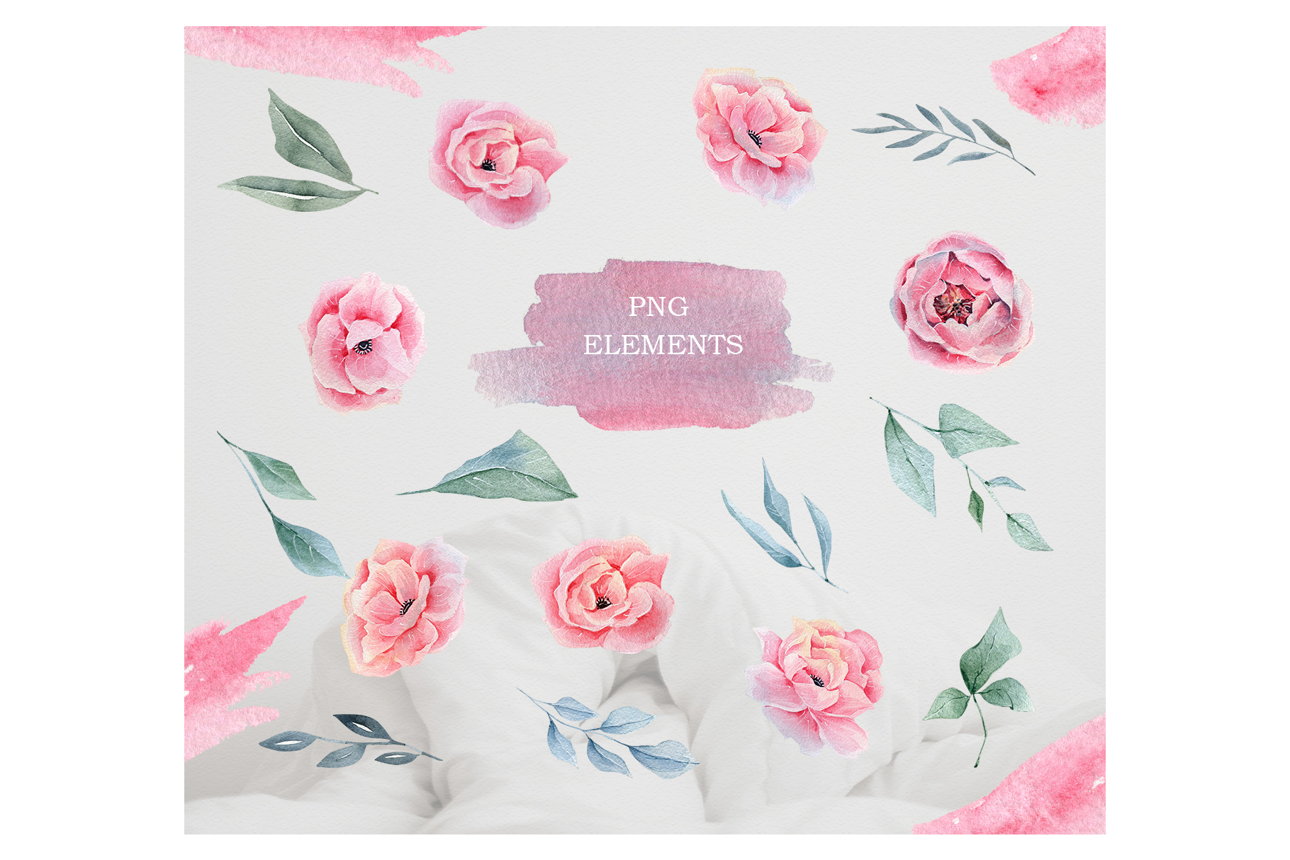 Watercolor Floral map, Spring pink flowers clipart, peony example image 6