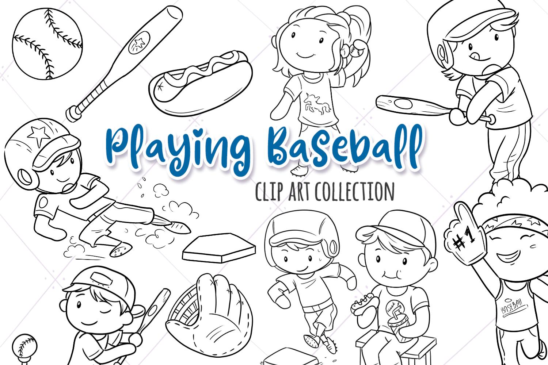 Kids Playing Baseball Digital Stamps example image 1