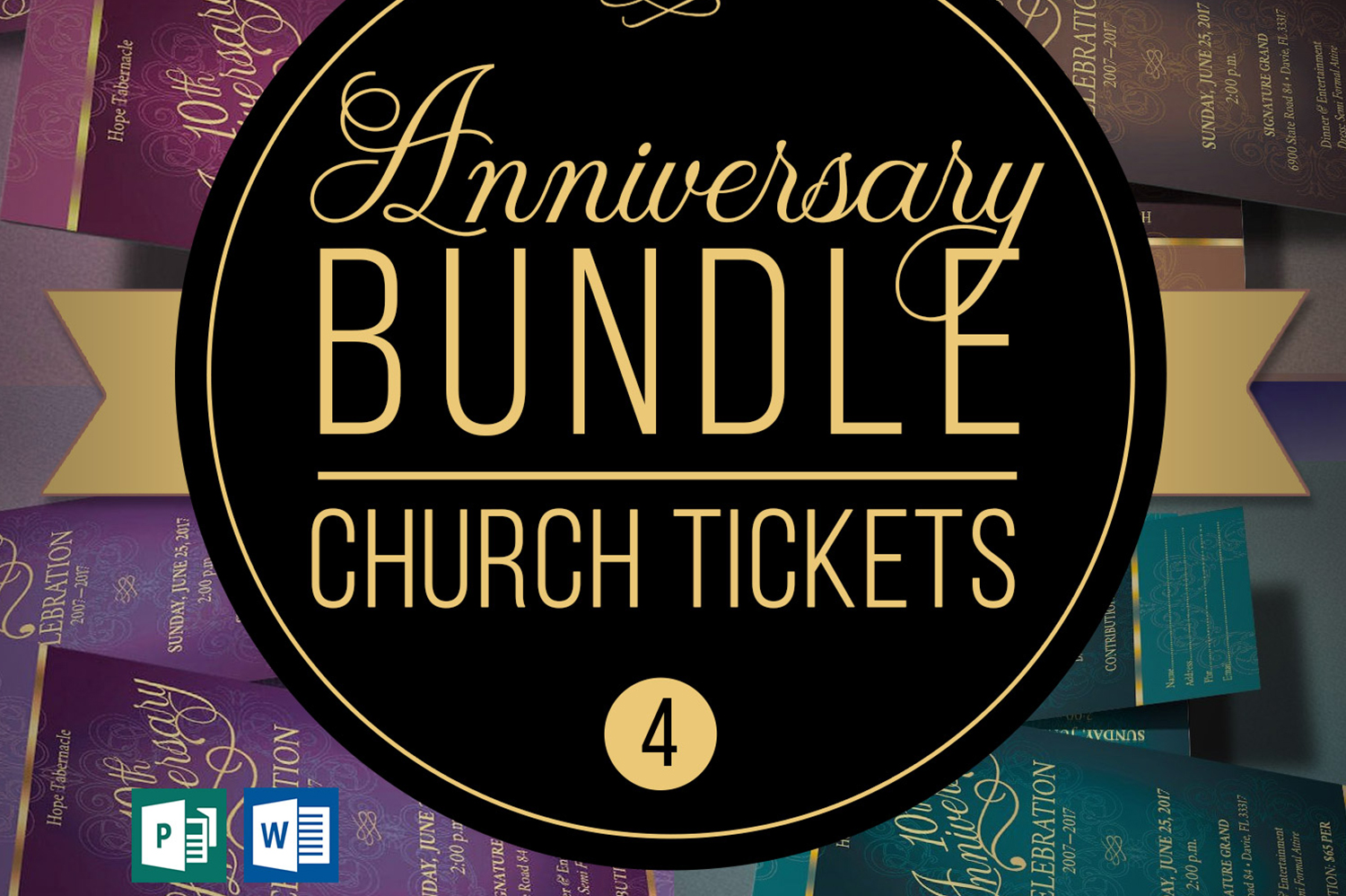 Church Anniversary Publisher Word Ticket Bundle example image 1