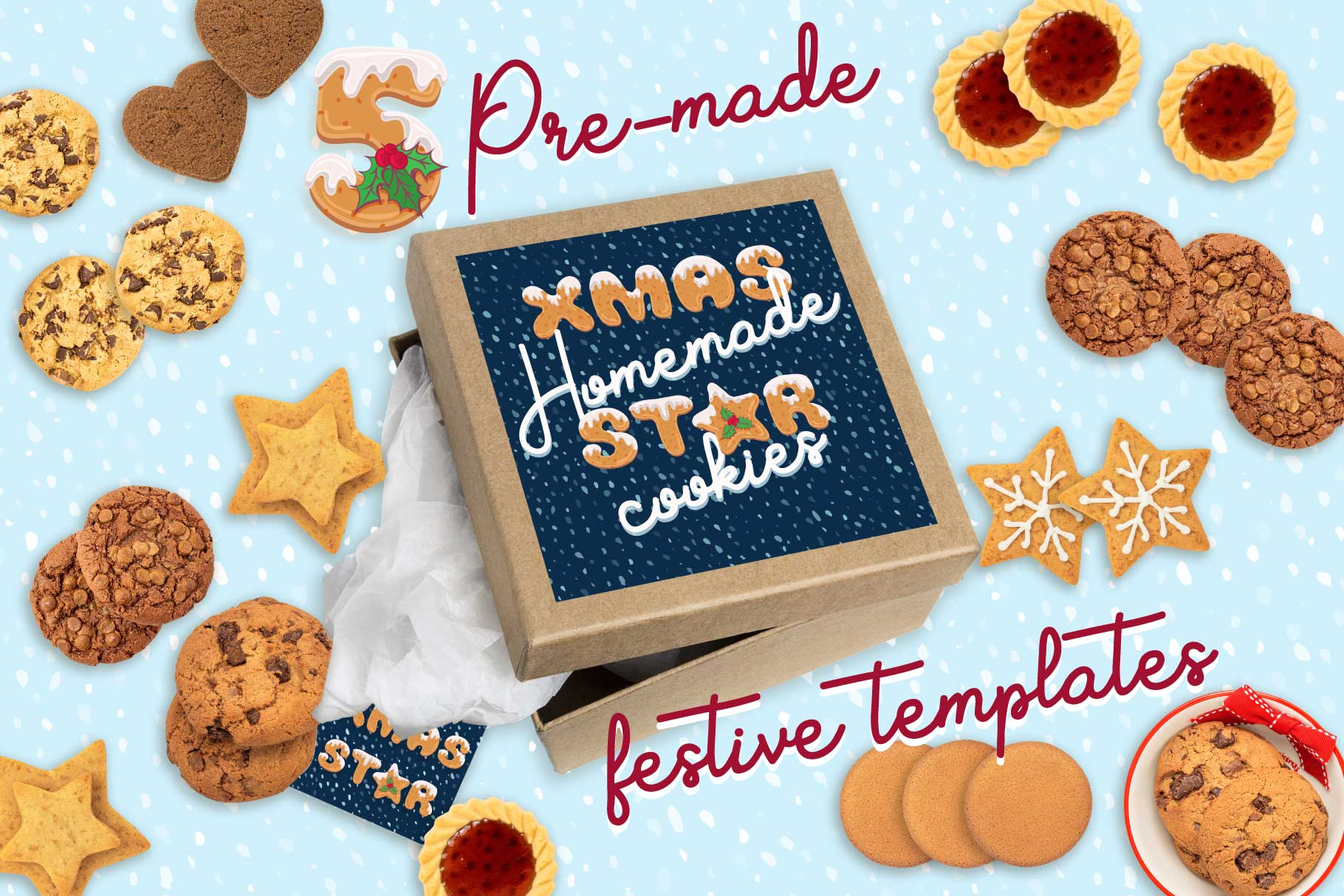 Xmas cartoon cookie font family example image 5