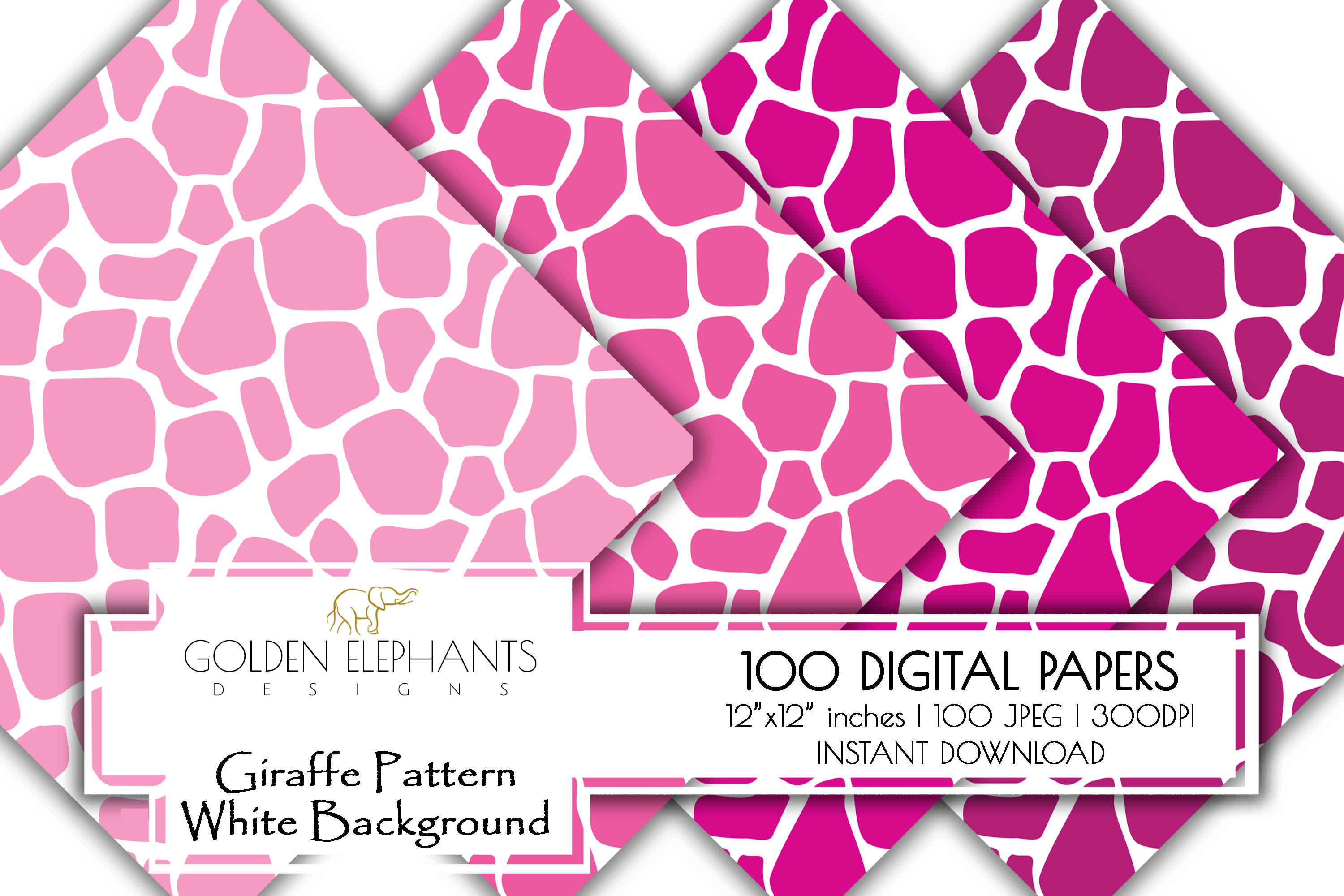 100 Giraffe Pattern w/ White Background Digital Paper example image 5