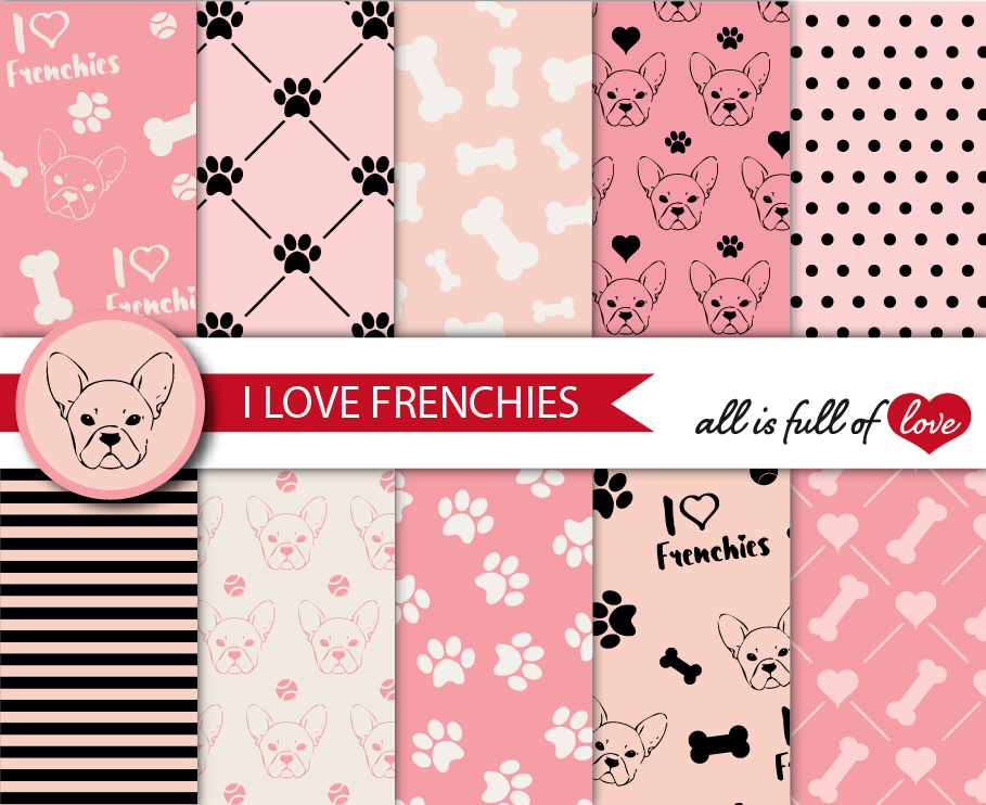 I Love Frenchies Digital Paper French Bulldog Background Patterns in Pink and Black example image 1