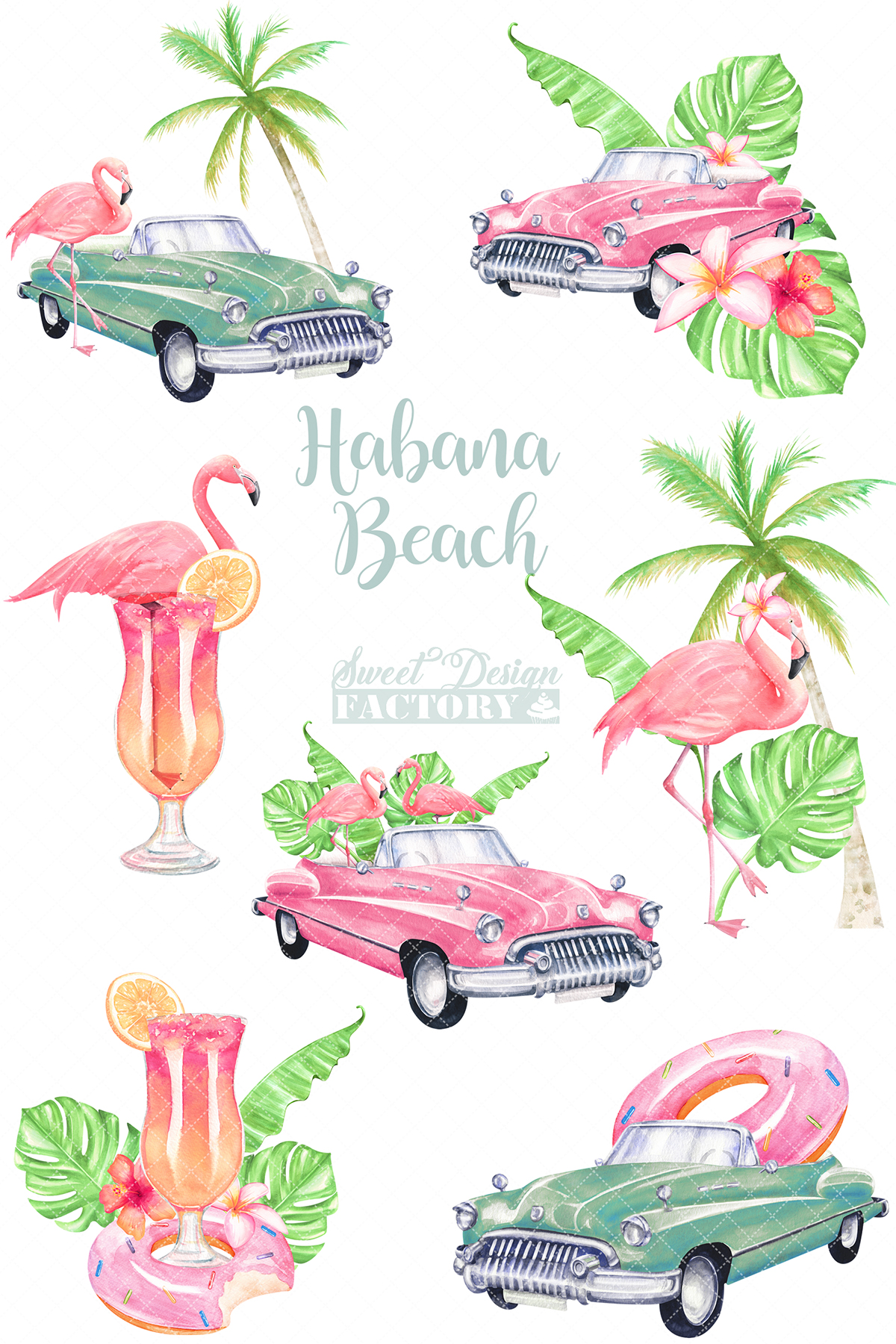 Watercolor flamingos and retro cars summer clipartS example image 3