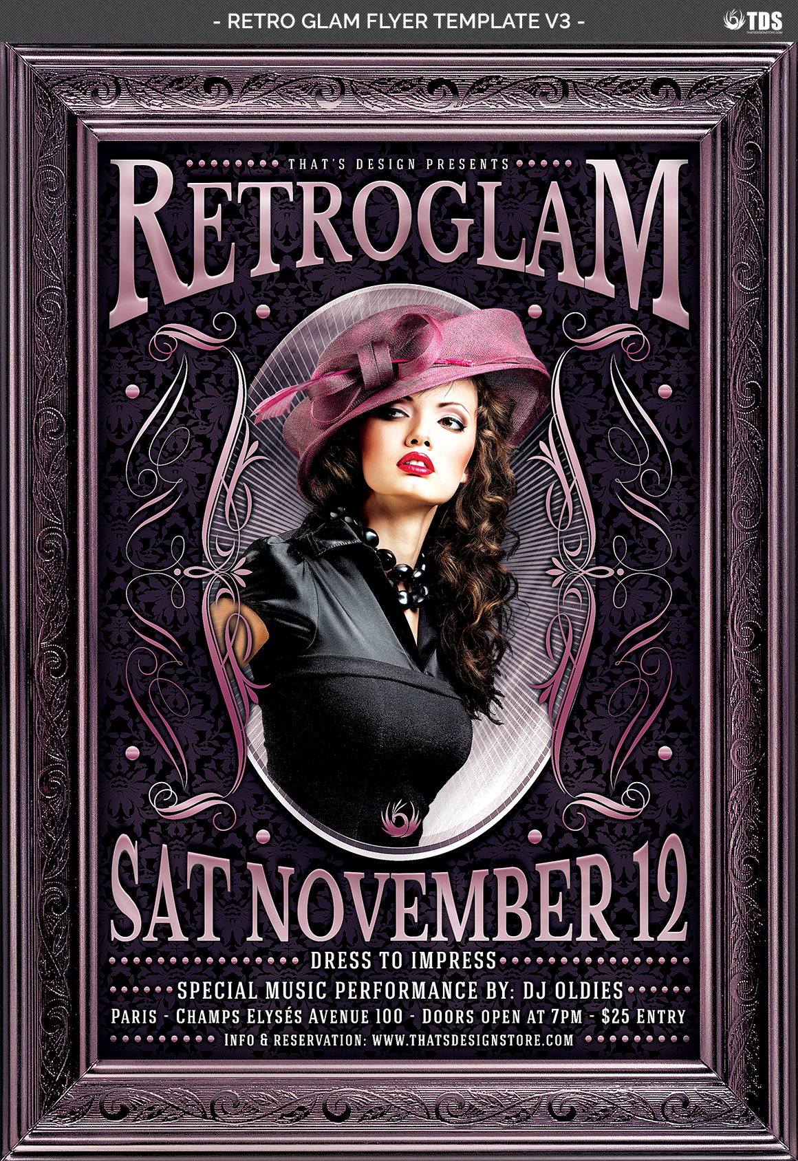 Retro Glam Flyer Template V3  example image 4