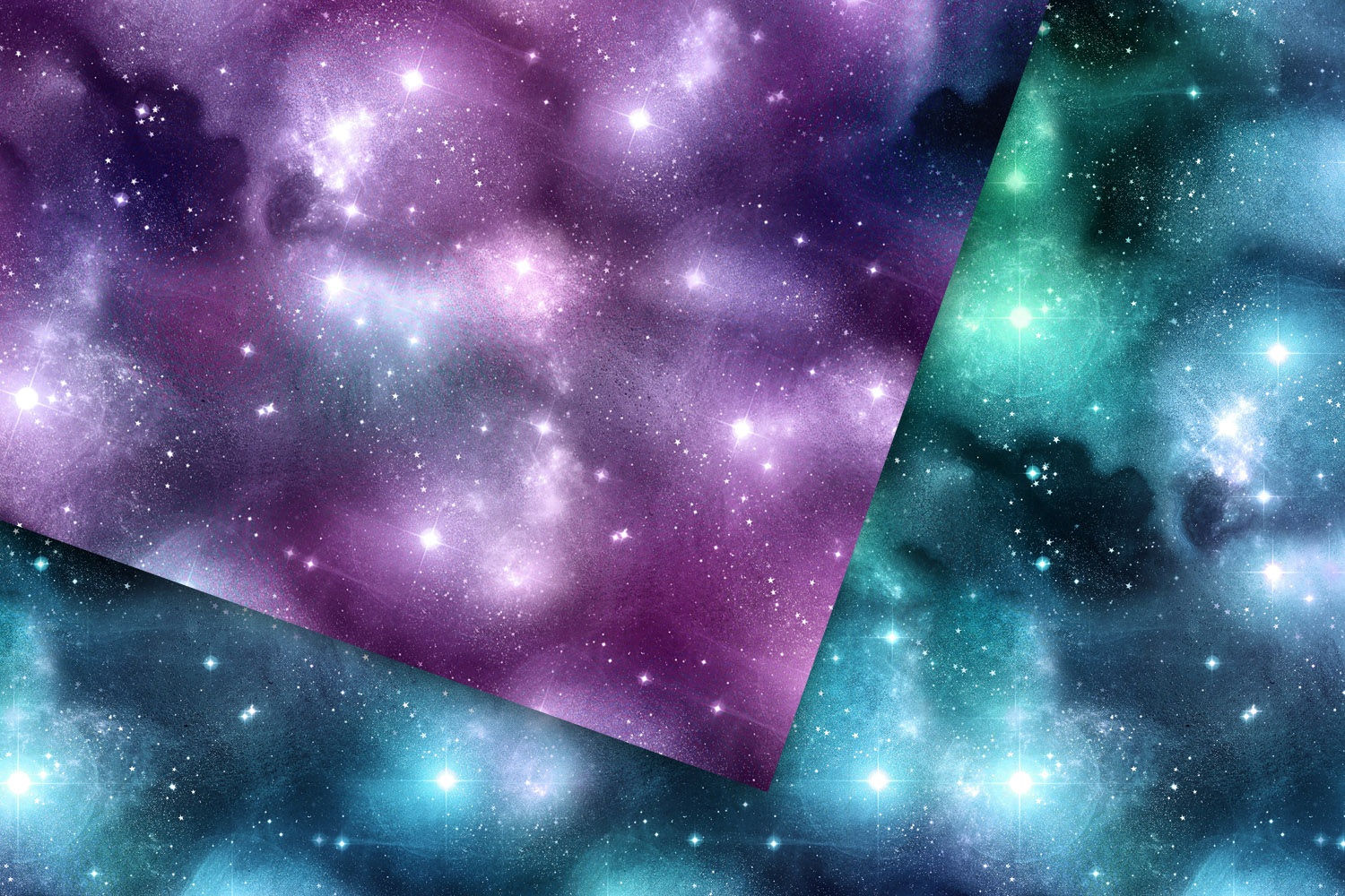 Seamless Watercolor Galaxy Textures example image 3