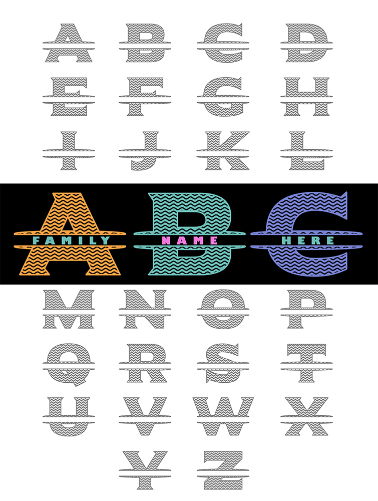 Letters for monograms Bundle SVG, DXF, JPG, PNG, DWG, AI, EPS example image 2