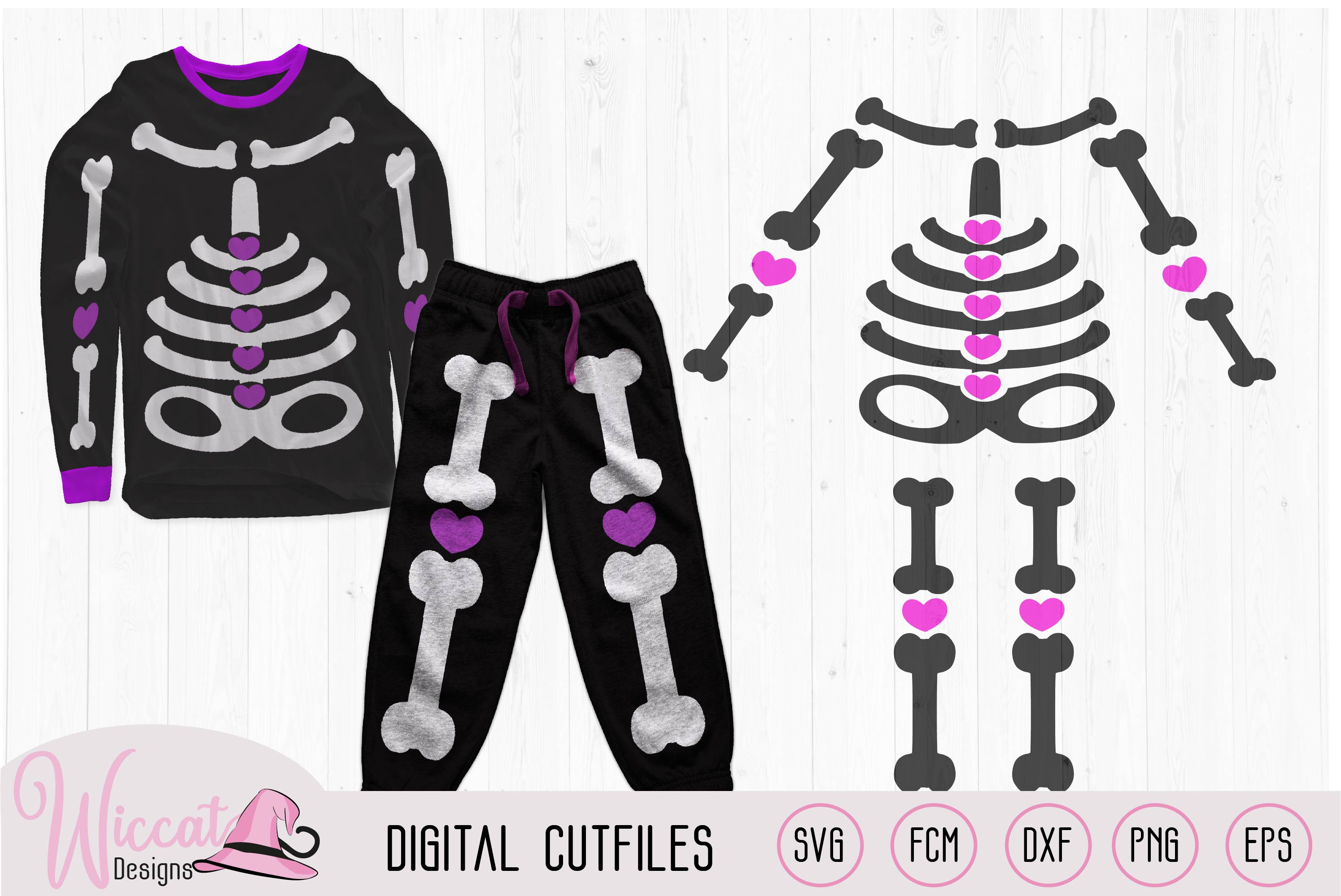 Girl skeleton with hearts, costume for girls svg, example image 1