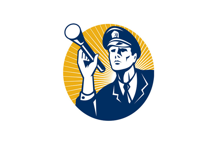 Policeman Security Guard With Flashlight Retro example image 1