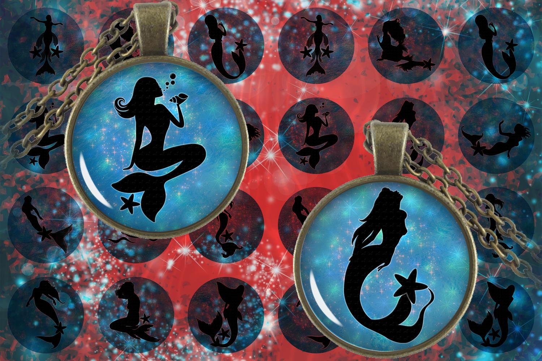 Mermaid Digital Collage Sheet,Mermaid Circles,Cabochon Image example image 1