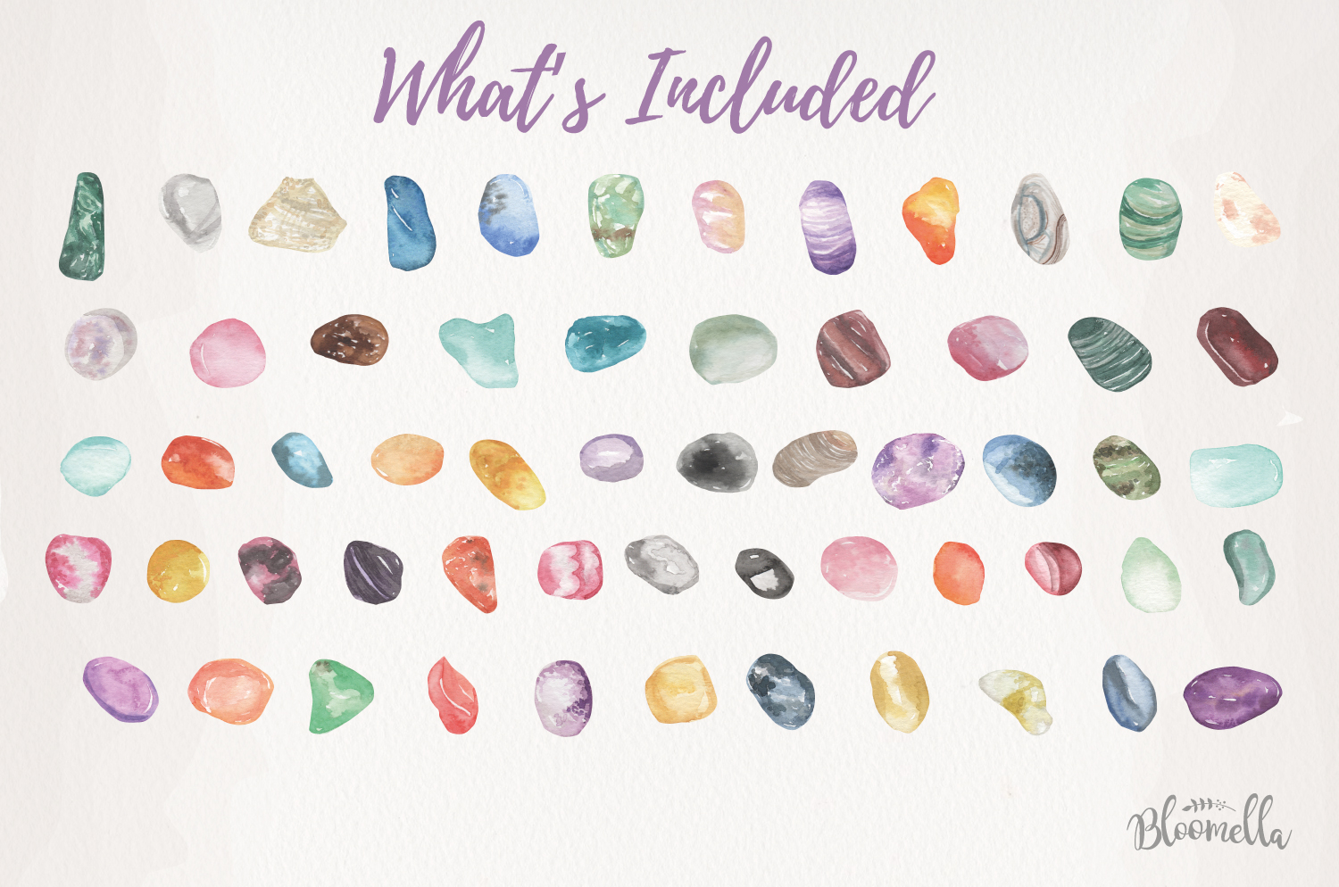 60 Gemstones Watercolor Elements Painted PNG Stones Crystals example image 3