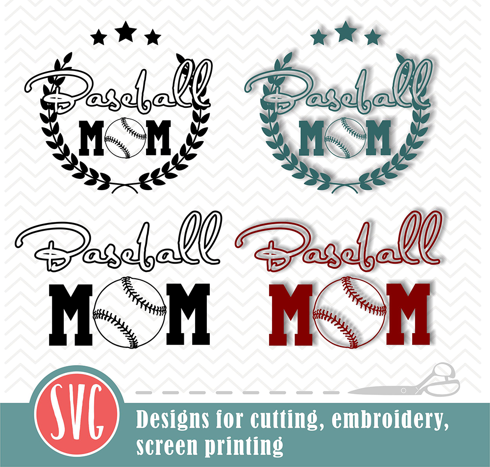 Baseball mom - 2 designs - SVG, EPS, PNG, JPG, DXF, AI example image 2