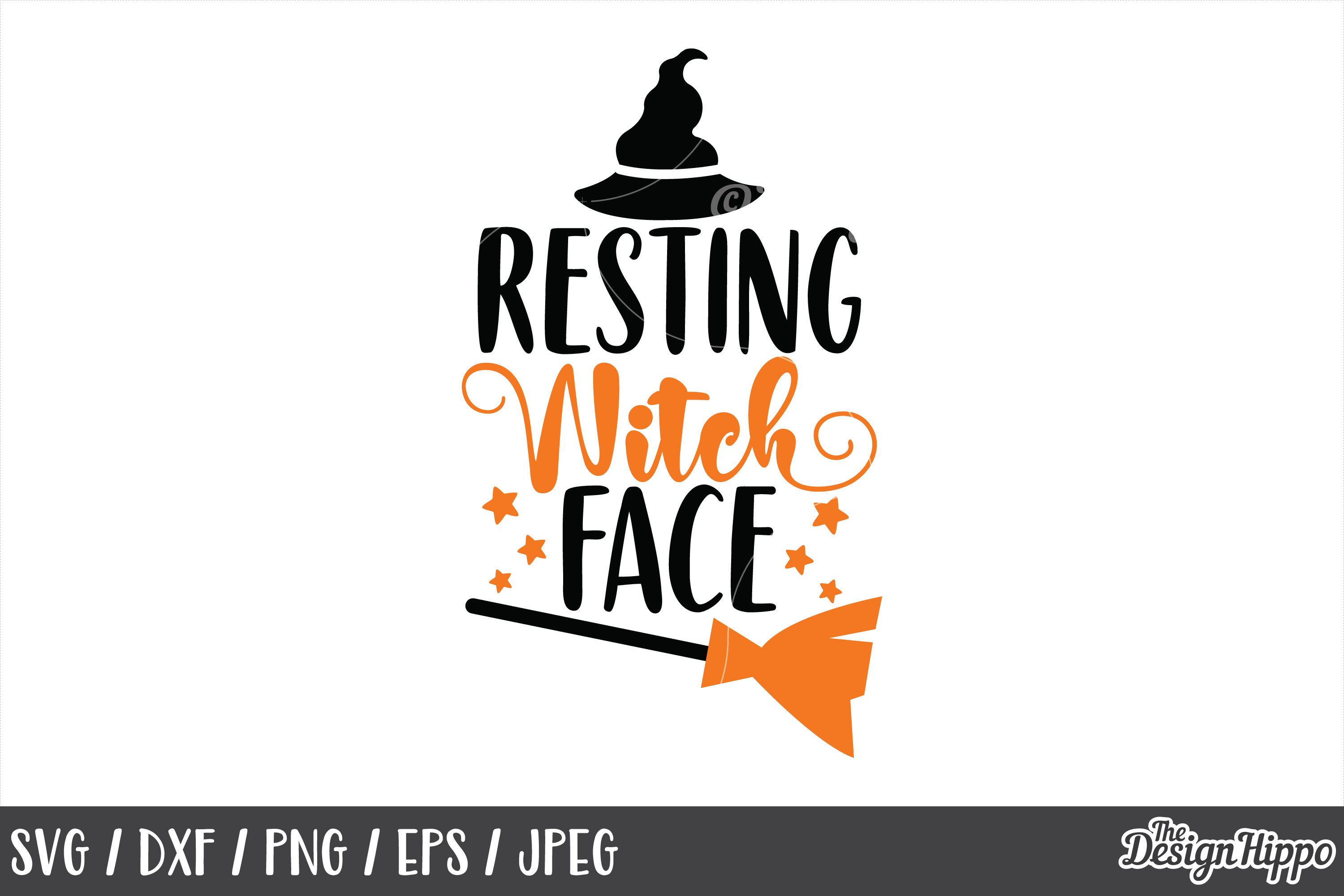 Resting witch face SVG, Halloween, Witch hat, Broom, PNG DXF example image 1