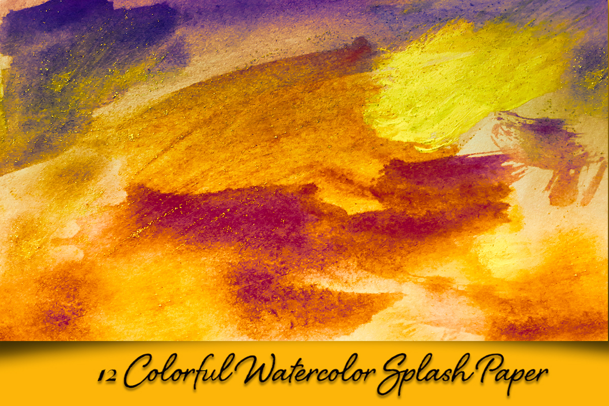 Colorful Splash Backgrounds. Watercolor textured paper pack example image 1
